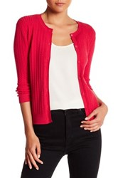 Kier And J Cable Knit Button Up Cardigan Red