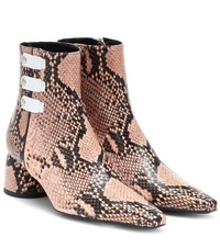 Ellery Printed Leather Ankle Boots Pink
