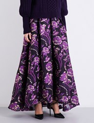 Temperley London Elsa High Rise Cloqua Maxi Skirt Aubergine