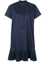 Paul Smith Ps By Pleated Hem Shirt Dress Blue