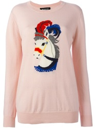 Markus Lupfer Horse Intarsia Sweater Pink And Purple
