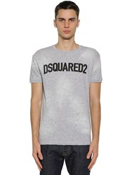 Dsquared Logo Printed Cotton Jersey T Shirt Heather Grey