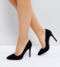 Truffle Collection Wide Fit Heel Court Shoe Black Micro
