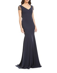 Theia Jeweled Back Mermaid Gown Navy
