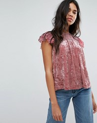 Hazel Crushed Velvet Top With Lace Yolk Dusty Pink