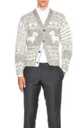 Thom Browne Hector Fair Isle Jacquard Cardigan In Gray Stripes Gray Stripes