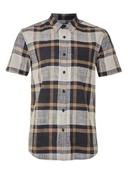 Topman Navy And Brown Check Short Sleeve Casual Shirt Blue