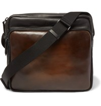 Berluti Two Tone Leather Messenger Bag Brown