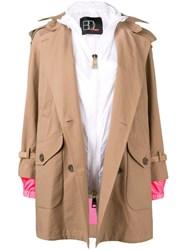 Bazar Deluxe Hooded Trench Coat With Interior Gilet Neutrals
