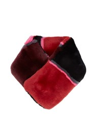 Diane Von Furstenberg Striped Rabbit Fur Scarf Red Multi