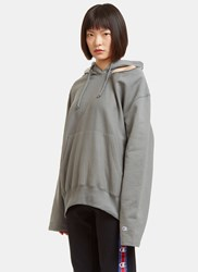 Vetements Champion Cut Out Shoulder Hooded Sweater Grey
