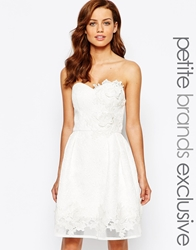 Chi Chi Petite Chi Chi London Petite Jacquard Bandeau Prom Dress With Floral Applique White
