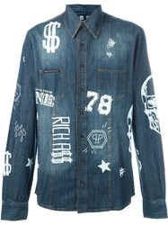 Philipp Plein 'Idol' Denim Shirt Blue