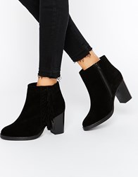 Asos Ella Wide Fit Suede High Ankle Boots Black