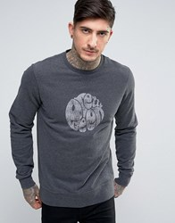 Pretty Green Heyland Crew Sweat Logo Print Slim Fit In Charcoal Charcoal Grey