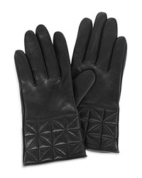Karen Millen Quilted Leather Gloves Black
