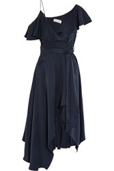 Zimmermann One Shoulder Asymmetric Silk Wrap Midi Dress Navy