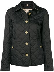 Burberry Check Print Quilted Jacket Black
