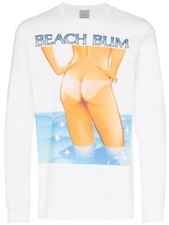 Ashley Williams Graphic Print Long Sleeved Cotton T Shirt White