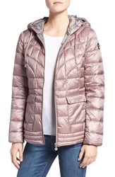 Bernardo Women's Packable Down And Primaloft Fill Hooded Jacket Rosa Light Grey