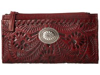 American West Folded Wallet Distressed Crimson Wallet Handbags Brown