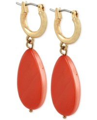 Kenneth Cole New York Gold Tone Colorful Hoop Teardrop Earrings Coral