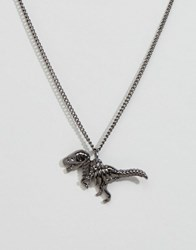 Reclaimed Vintage T Rex Skeleton Pendant Necklace In Silver Silver
