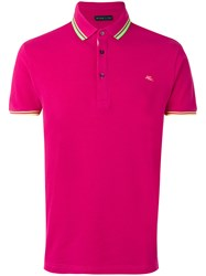 Etro Neon Trim Polo Shirt Men Cotton L Pink Purple