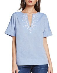 Bcbgeneration Split V Cotton Top Blue