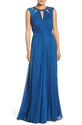Adrianna Papell Women's Embellished Collar Shirred Gown