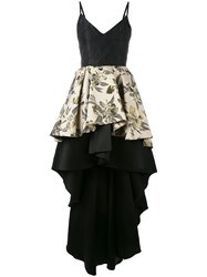 Christian Pellizzari Floral Jacquard High Low Ruffle Dress Black