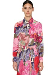 Valentino Printed Crepe De Chine Shirt Multicolor