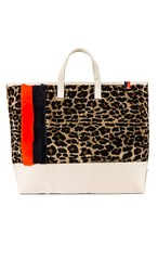 Kule The Shearling Tote In Brown. Leopard Multi