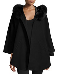 Sofia Cashmere Fur Trim Hooded Capelet