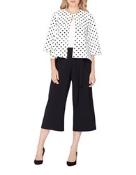 Tahari By Arthur S. Levine Polka Dot Print Traditional Fit Capelet White Black