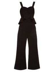 Self Portrait Peplum Panel Flared Leg Jumpsuit Black