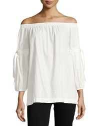 Max Studio Tie Sleeve Off The Shoulder Blouse White