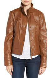 Jessica Simpson Women's Quilted Faux Leather Jacket Tan