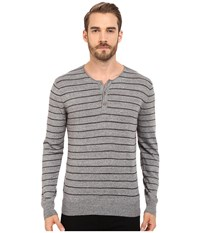 Michael Stars Striped Long Sleeve Henley Heather Grey Charcoal Men's Clothing Gray