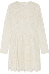 Valentino Tiered Cotton Blend Corded Lace Mini Dress Off White