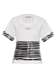 Adidas By Stella Mccartney Zebra Stripe Cotton Jersey T Shirt White Black