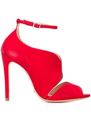 Schutz Ankle Strap Stiletto Sandals Red