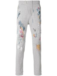 Just Cavalli Paint Print Casual Trousers Cotton Grey