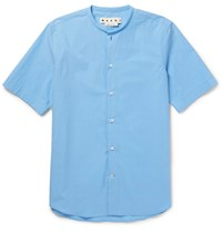 Marni Grandad Collar Cotton Poplin Shirt Light Blue