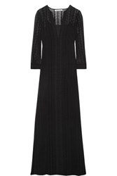 Elizabeth And James Mia Embroidered Silk Georgette Maxi Dress Black