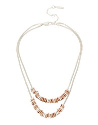Kenneth Cole Under Construction Two Tone Geometric Bead Two Row Necklace