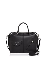 Marc Jacobs The Edge Bauletto Leather Satchel Black Silver