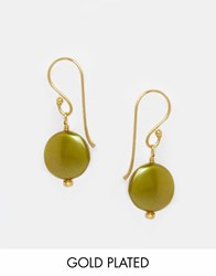 Mirabelle Carita Lime Drop Gold Plated Earrings Lime