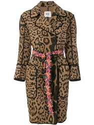 Bazar Deluxe Leopard Print Double Breasted Coat Brown