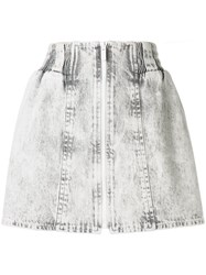 Miu Miu Bleached Denim Mini Skirt Grey